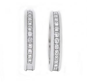 bead set diamond hoop earrings | B13771