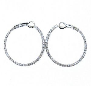 White Gold Diamond Hoop Earrings | B17270