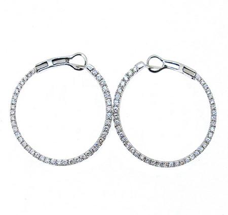 White Gold Diamond Hoop Earrings | B17270