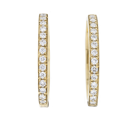 Yellow Gold Diamond Hoop Earrings | B18152