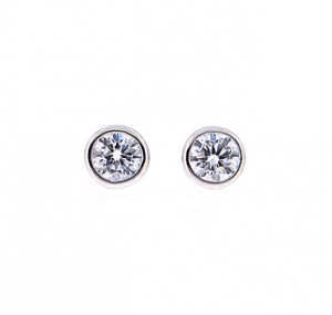 Bezel Set Diamond Stud Earrings | B19639
