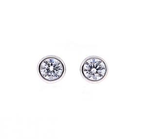 Bezel Set Diamond Stud Earrings | B19639