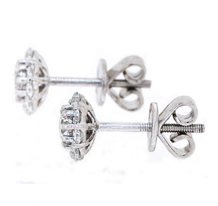 diamond cluster earrings| B19747