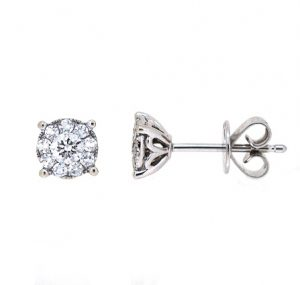 diamond cluster earrings | B20031