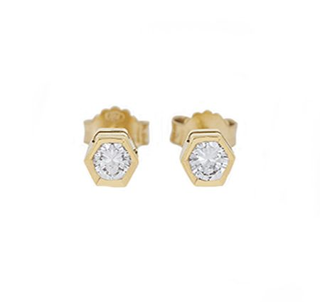Yellow Gold Bezel Set Diamond Stud Earrings | B4204