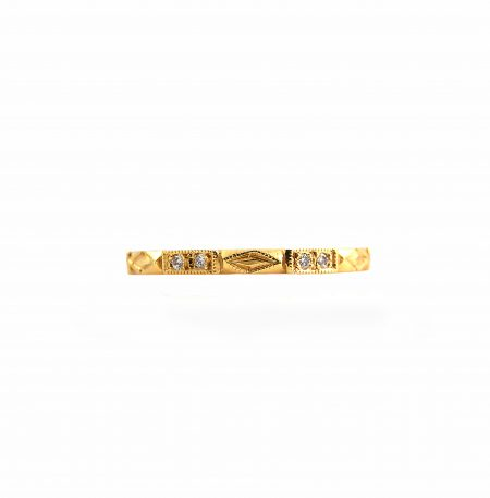 Yellow Gold Deco Style Diamond Wedding Ring | B11883
