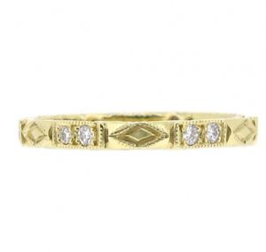 Yellow Gold Deco Style Diamond Wedding Ring | B11883