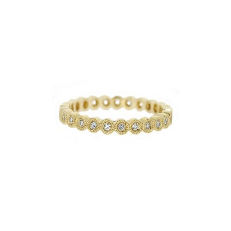Yellow Gold Bezel Set Full Diamond Wedding Ring | B13233