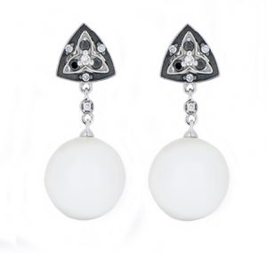 Autore South Sea pearl and black diamond earrings | B16930