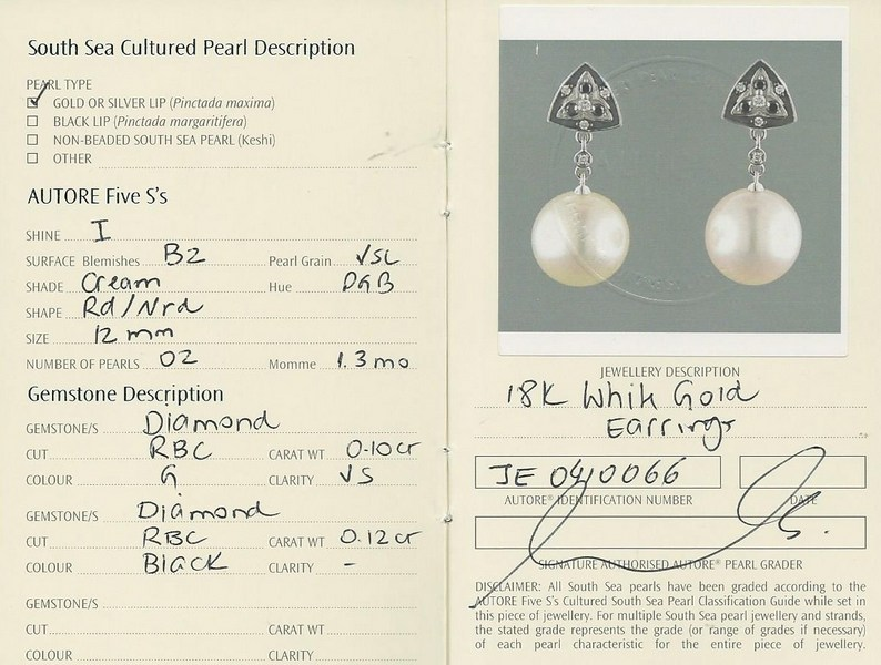 Autore South Sea Pearl Earrings | b16930 Cert
