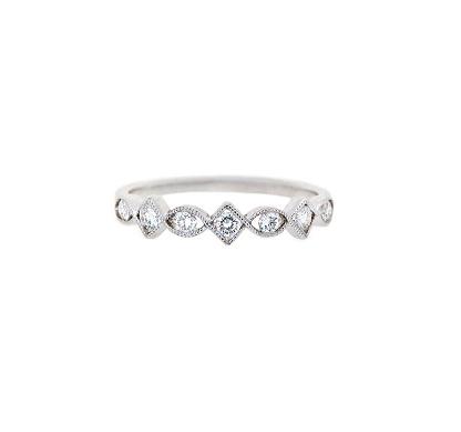 Alternating Shape Diamond Wedding Ring   B17282