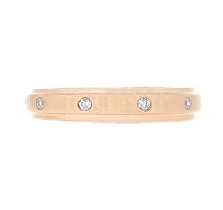 Rose Gold Hammer Set Diamond Wedding Ring | B17858