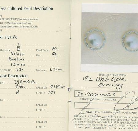 Autore South Sea Pearl Stud Earrings   b18042-cert