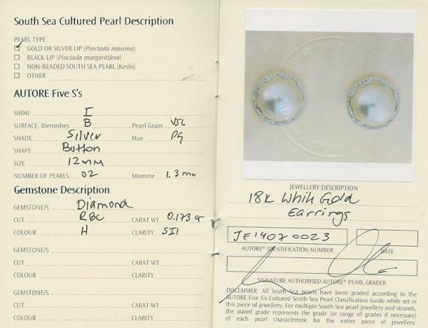 Autore South Sea Pearl Stud Earrings | b18042-cert