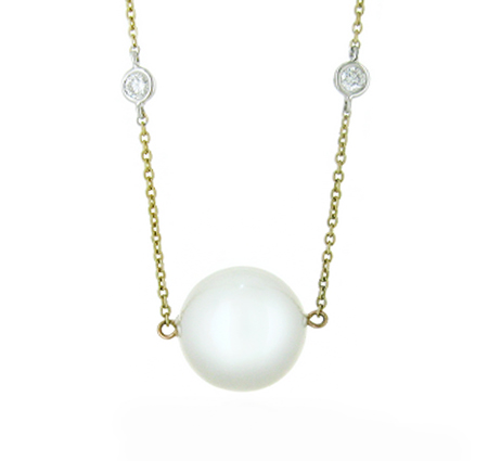 Yellow gold south sea pearl necklace | B18453