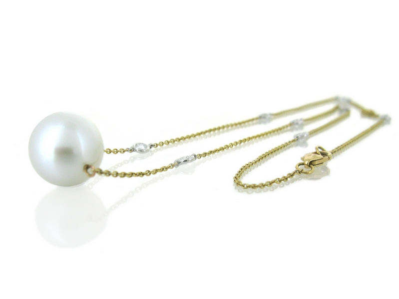 Yellow Gold South Sea Pearl Necklace Perth | B18453(1)