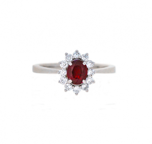 Ruby And Diamond Halo Ring | B18983
