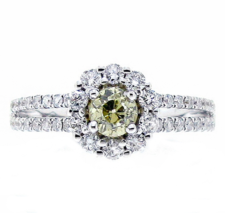 yellow diamond halo engagement ring | B18996