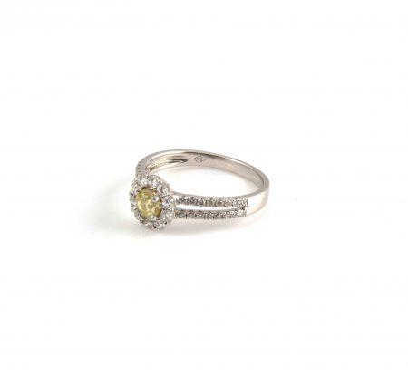 Yellow Diamond Halo Engagement Ring | B18996