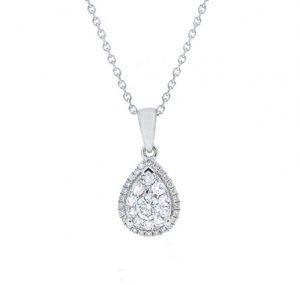 diamond cluster necklace   B19066