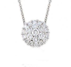 diamond cluster pendant   B19120