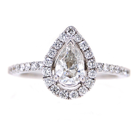 pear shape halo diamond engagement ring | B19347