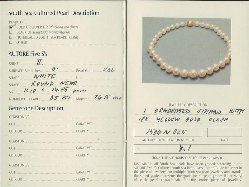 South Sea Pearl Autore Strand Necklace | B19452-cert