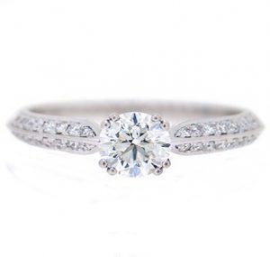 knife edge solitaire diamond engagement ring   B19464