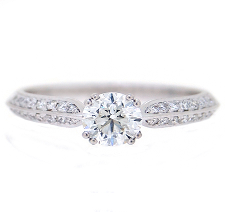 knife edge solitaire diamond engagement ring | B19464
