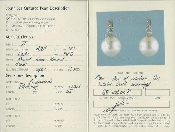 Autore South Sea Pearl Earrings   b19691-cert