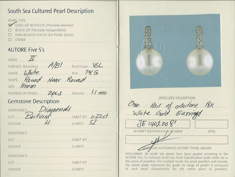 Autore South Sea Pearl Earrings | b19691-cert
