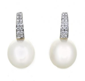 Autore South Sea Pearl and Half Hoop Diamond Earrings | B19691