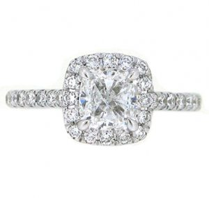 cushion cut halo diamond engagement ring | B19718