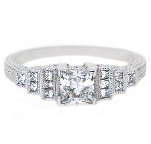 Deco style diamond engagement ring | B19880