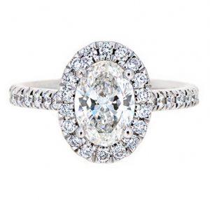 oval cut halo Diamond engagement ring   B19927