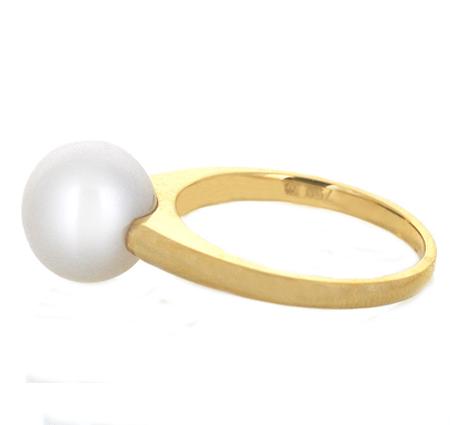 yellow gold fresh water pearl ring | B20111