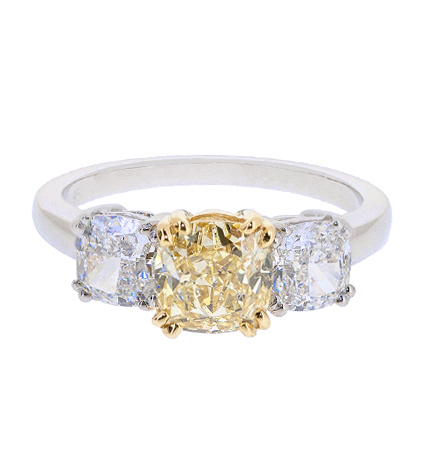 cushion cut yellow diamond trilogy ring | B20708