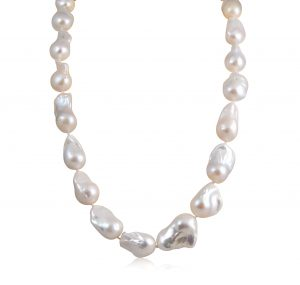 A Sterling silver fresh water pearl strand necklace, strung with 14 -19mm pearls baroque-shaped 60cm in length.