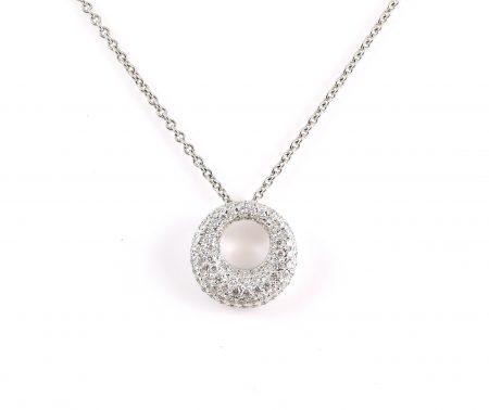 Pave Set Diamond Circle Pendant   B11263