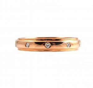 Rose Gold Hammer Set Diamond Wedding Ring   B17858