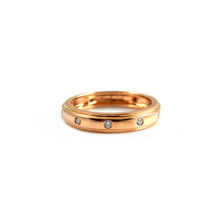 Rose Gold Hammer Set Diamond Wedding Ring | B17858