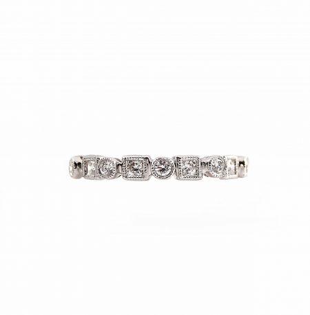 Alternating Shape Round Brilliant Cut Diamond Wedding Ring | B13218