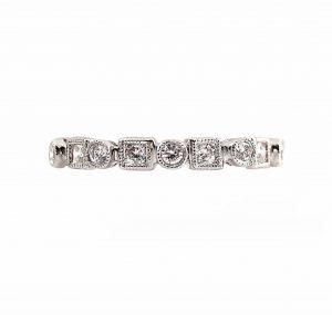 Alternating Shape Round Brilliant Cut Diamond Wedding Ring   B13218
