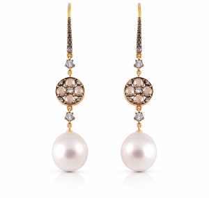 Autore South Sea pearl and diamond earrings | B15159