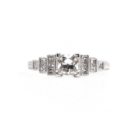 Deco Style Diamond Engagement Ring | B19880