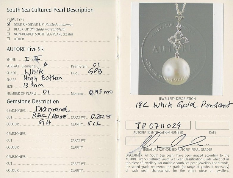autore south sea pearl pendant perth | b14406-cert