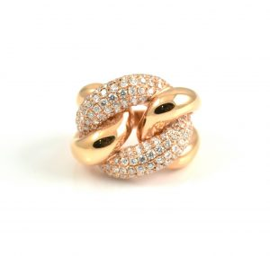Rose Gold Diamond Chain Link Ring | B15973