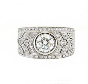 Wide Round Brilliant Cut Diamond Ring | B16124
