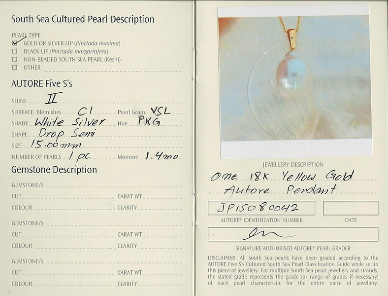 autore south sea pearl pendant perth | b19919-cert