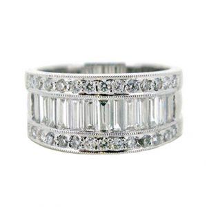 baguette and round diamond ring | B12196